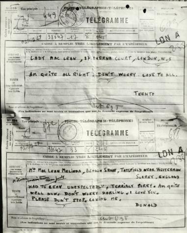 Télégramme de D Maclean, espion soviétique du Cambridge Five, envoyé à sa femme après sa défection
