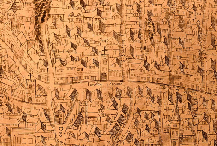 The London Stone shown on the first detailed map of London, 1559.png